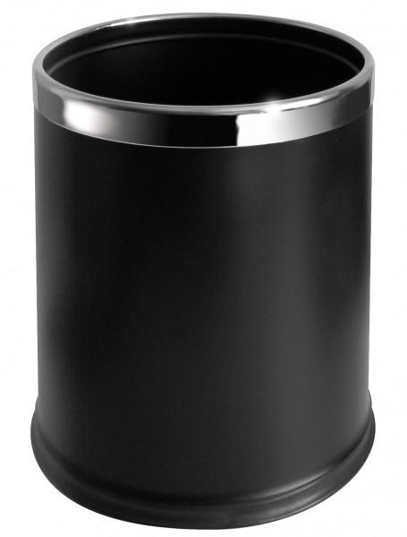 Abfallkorb Zimmer 10 L Schwarz Mit Edelstahl Ring